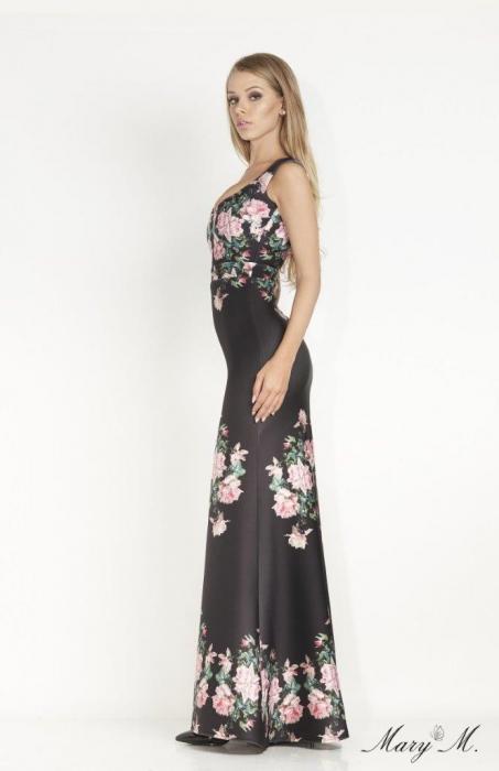 Rochie Betty M Venice neagra cu flori lunga de seara tip sirena 2