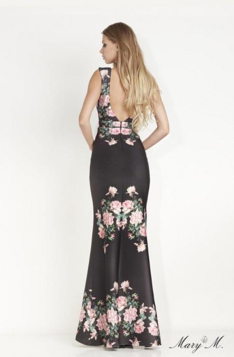 Rochie Betty M Venice neagra cu flori lunga de seara tip sirena 3