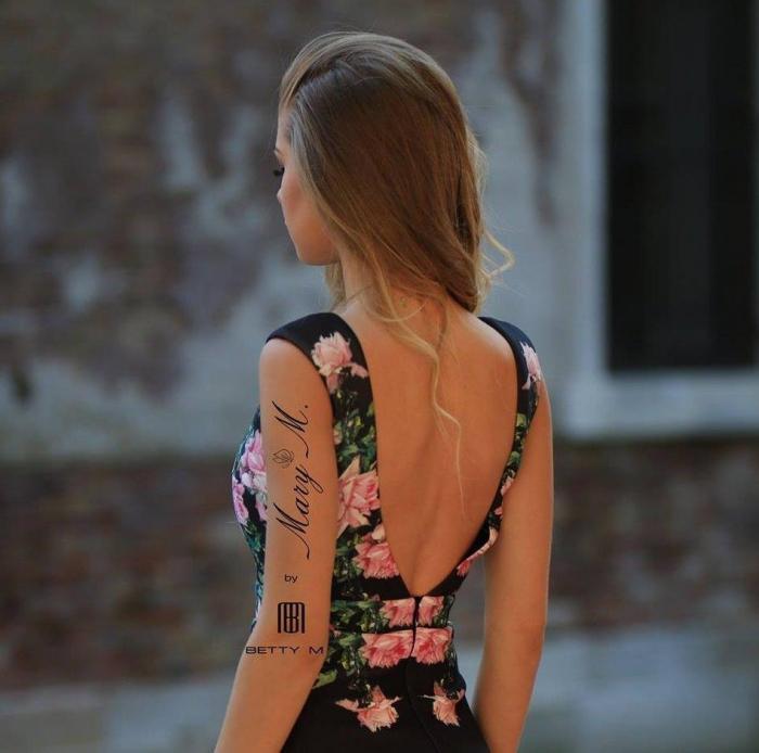 Rochie Betty M Venice neagra cu flori lunga de seara tip sirena 4
