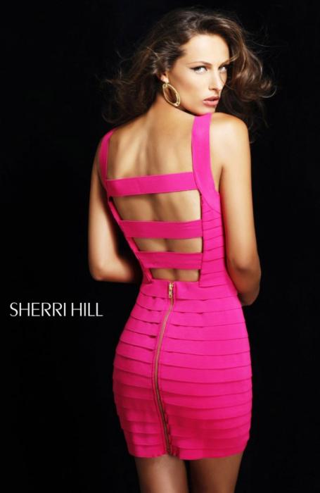 Rochie Sherri Hill 2220 verde scurta de ocazie mulata din elastice 2