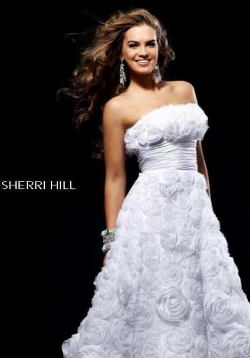 Rochie Sherri Hill 2223 alba midi de ocazie baby doll din tulle 1
