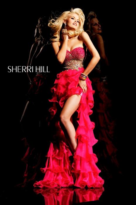 Rochie Sherri Hill 3835 fuchsia scurta in fata de seara clos din voal 1