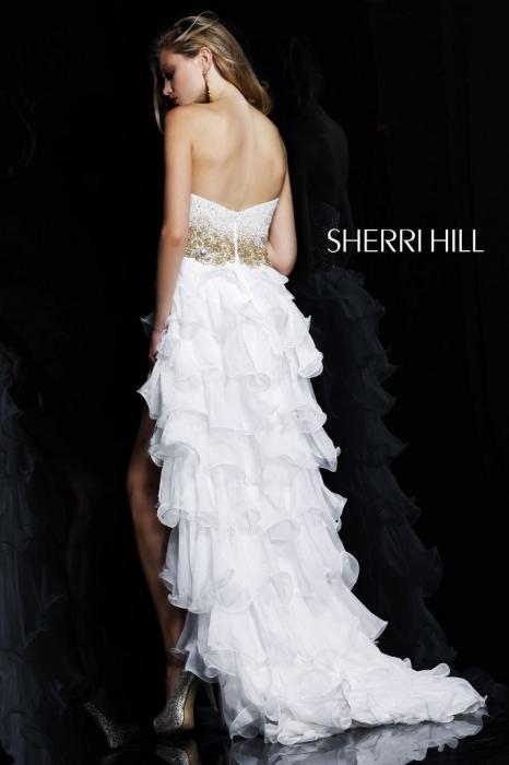 Rochie Sherri Hill 3835 fuchsia scurta in fata de seara clos din voal 2
