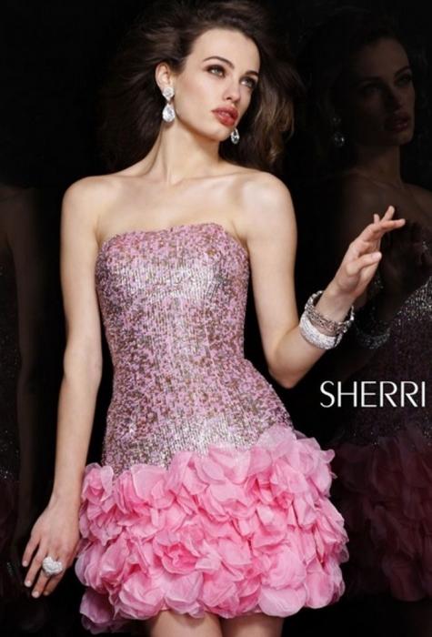 Rochie Sherri Hill 8430 roz scurta de ocazie mulata din matase 1