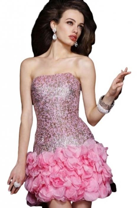 Rochie Sherri Hill 8430 roz scurta de ocazie mulata din matase 0