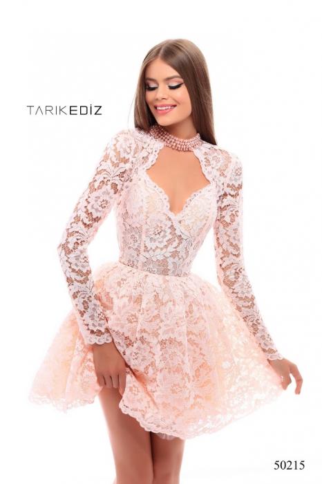 Rochie Tarik Ediz 50215 roz scurta de ocazie baby doll din dantela 0