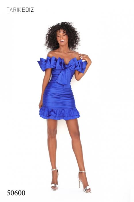 Rochie Tarik Ediz 50600 albastra scurta de ocazie mulata din taffeta 1