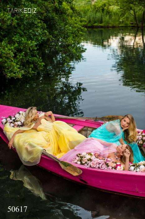 Rochie Tarik Ediz 50617 roz lunga de seara clos din voal 5