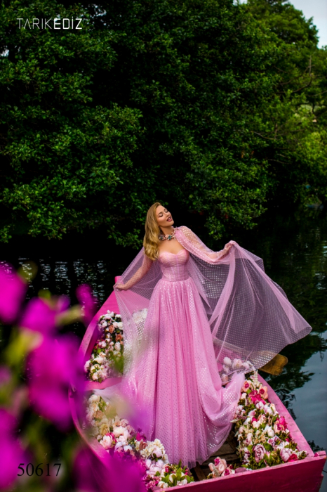 Rochie Tarik Ediz 50617 roz lunga de seara clos din voal 1