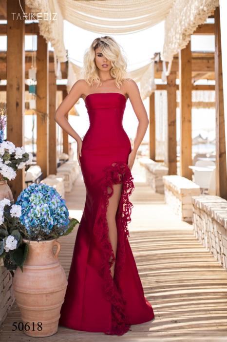 Rochie Tarik Ediz 50618 rosie lunga de seara sirena din taffeta [0]