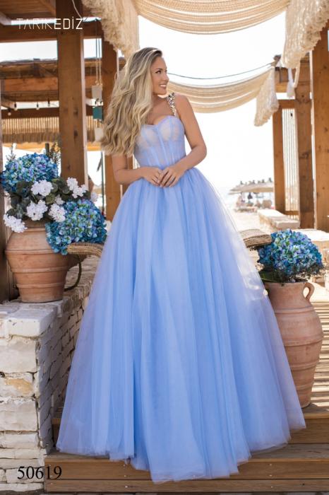Rochie Tarik Ediz 50619 bleu lunga de seara princess din tulle 0