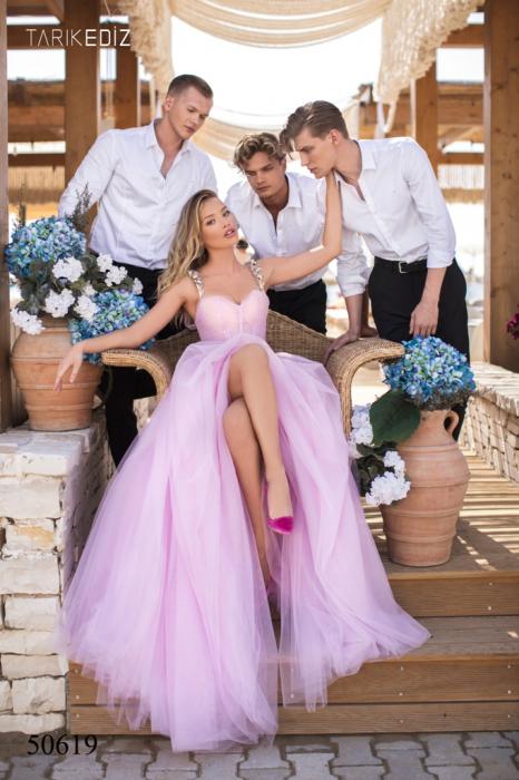 Rochie Tarik Ediz 50619 roz lunga de seara princess din tulle [1]