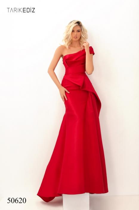 Rochie Tarik Ediz 50620 rosie lunga de seara sirena din taffeta 0