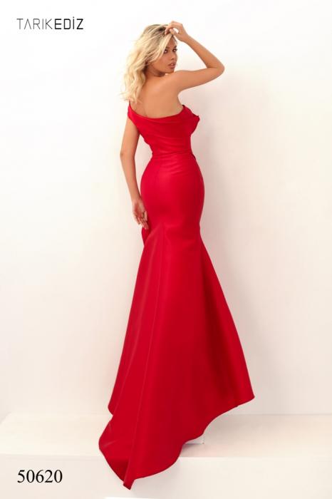 Rochie Tarik Ediz 50620 rosie lunga de seara sirena din taffeta 2