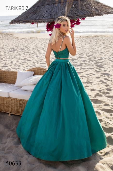 Rochie Tarik Ediz 50633 verde lunga de seara princess din taffeta 3