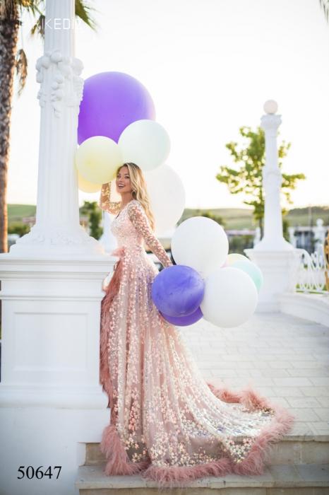 Rochie Tarik Ediz 50647 roz lunga de lux clos din paiete 2