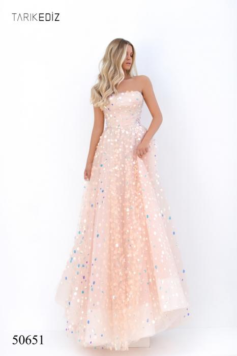 Rochie Tarik Ediz 50651 roz lunga de seara princess din tulle 0