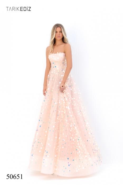 Rochie Tarik Ediz 50651 roz lunga de seara princess din tulle 1
