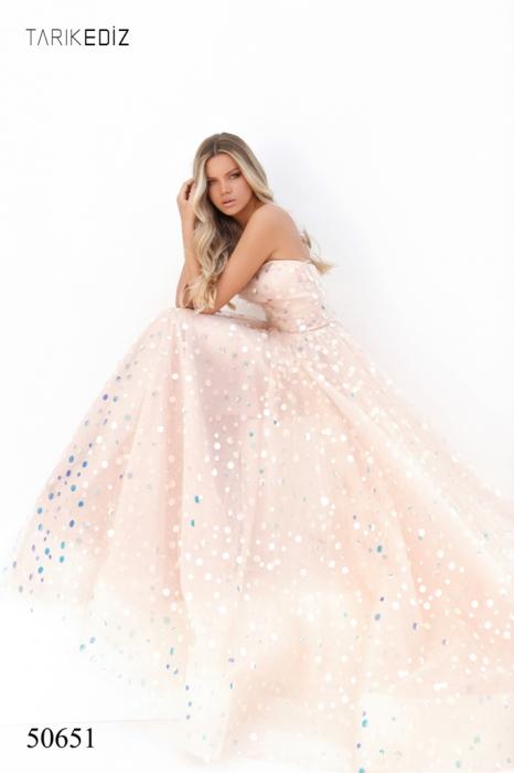 Rochie Tarik Ediz 50651 roz lunga de seara princess din tulle 2