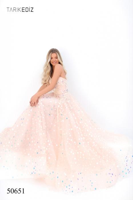 Rochie Tarik Ediz 50651 roz lunga de seara princess din tulle 3