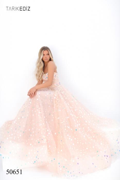 Rochie Tarik Ediz 50651 roz lunga de seara princess din tulle 4