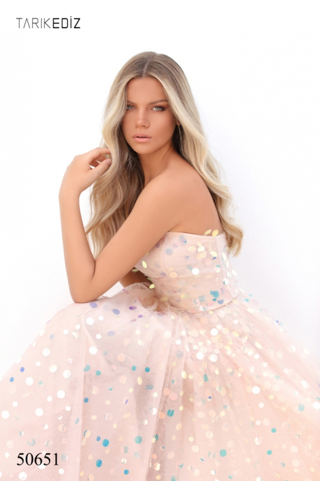 Rochie Tarik Ediz 50651 roz lunga de seara princess din tulle 5
