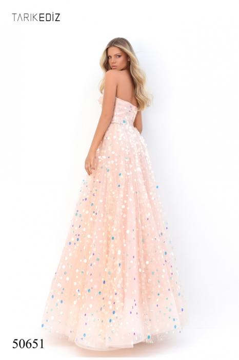 Rochie Tarik Ediz 50651 roz lunga de seara princess din tulle 6