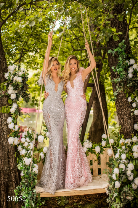 Rochie Tarik Ediz 50652 roz lunga de lux sirena din broderie 1