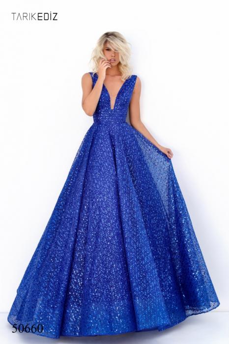 Rochie Tarik Ediz 50660 albastra lunga de seara princess din paiete 0