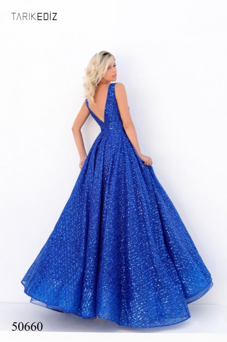 Rochie Tarik Ediz 50660 albastra lunga de seara princess din paiete 2