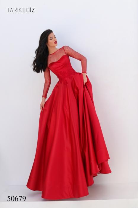 Rochie Tarik Ediz 50679 rosie lunga de seara princess din satin [0]