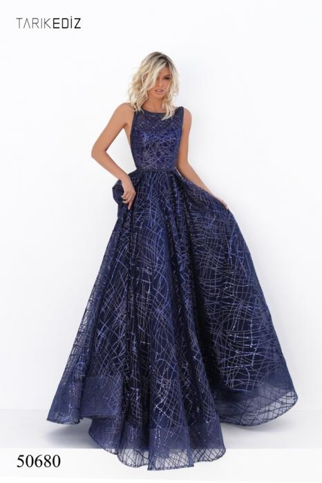 Rochie Tarik Ediz 50680 bleumarin lunga de seara princess din tulle [0]