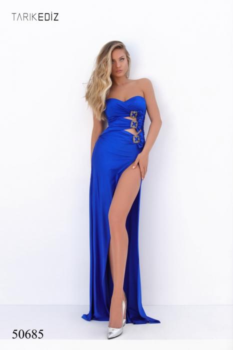 Rochie Tarik Ediz 50685 albastra lunga de seara mulata din jerse 0