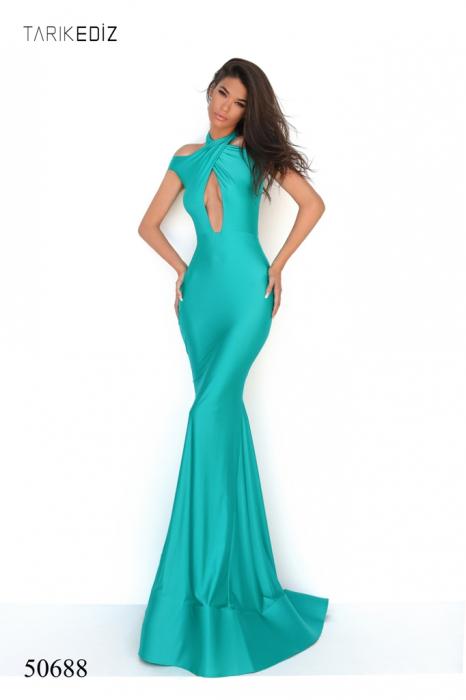 Rochie Tarik Ediz 50688 verde lunga de seara sirena din jerse 0