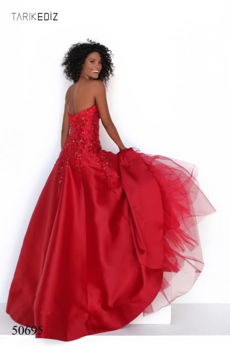 Rochie Tarik Ediz 50695 rosie lunga de seara A-line din taffeta 1