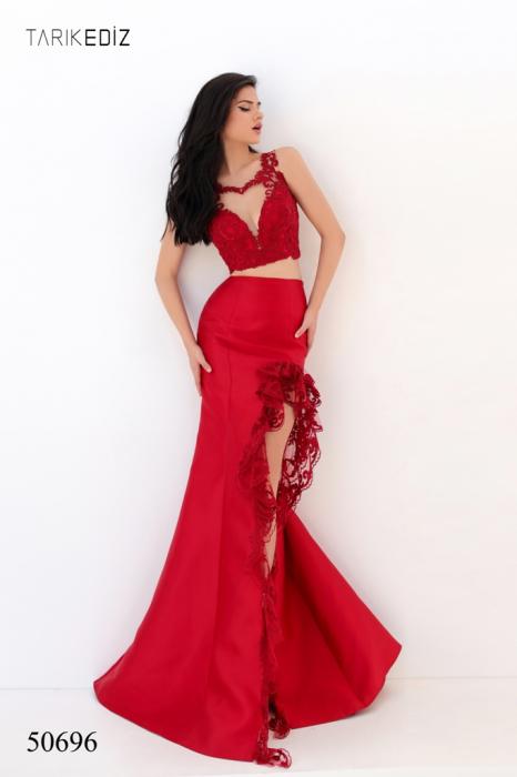 Rochie Tarik Ediz 50696 rosie lunga de seara sirena din taffeta [0]