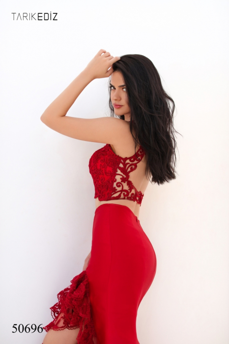 Rochie Tarik Ediz 50696 rosie lunga de seara sirena din taffeta [3]