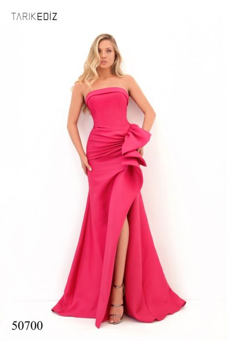 Rochie Tarik Ediz 50700 roz lunga de seara sirena din taffeta 0
