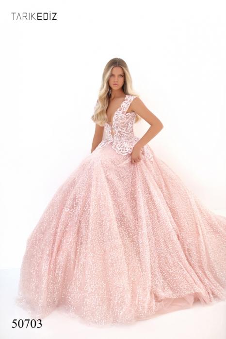 Rochie Tarik Ediz 50703 roz lunga de seara princess din tulle 1