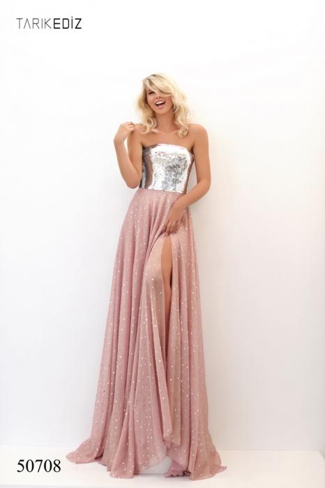 Rochie Tarik Ediz 50708 roz lunga de seara clos din voal [0]
