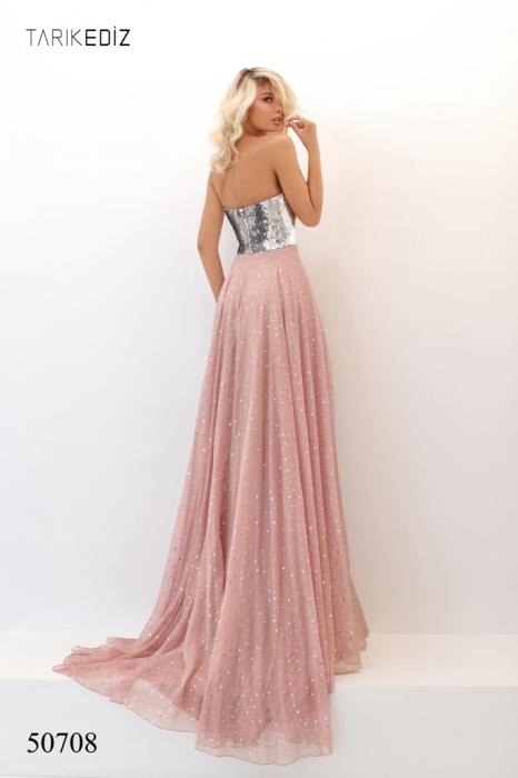 Rochie Tarik Ediz 50708 roz lunga de seara clos din voal [1]