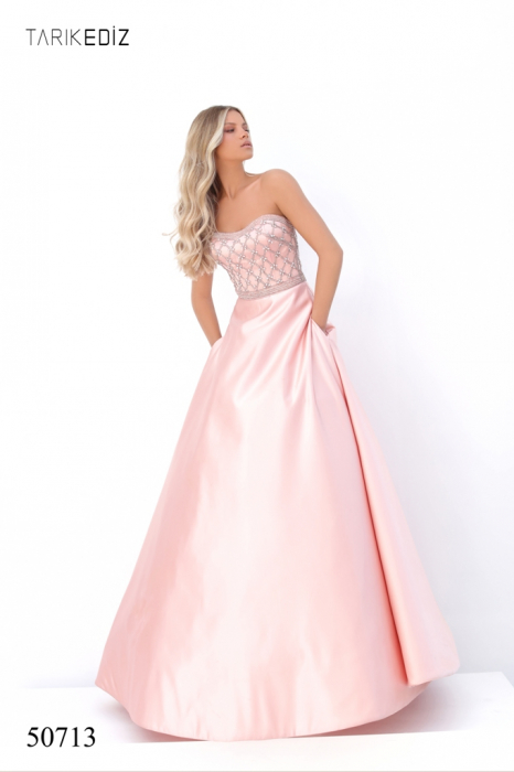 Rochie Tarik Ediz 50713 roz lunga de seara princess din satin [0]
