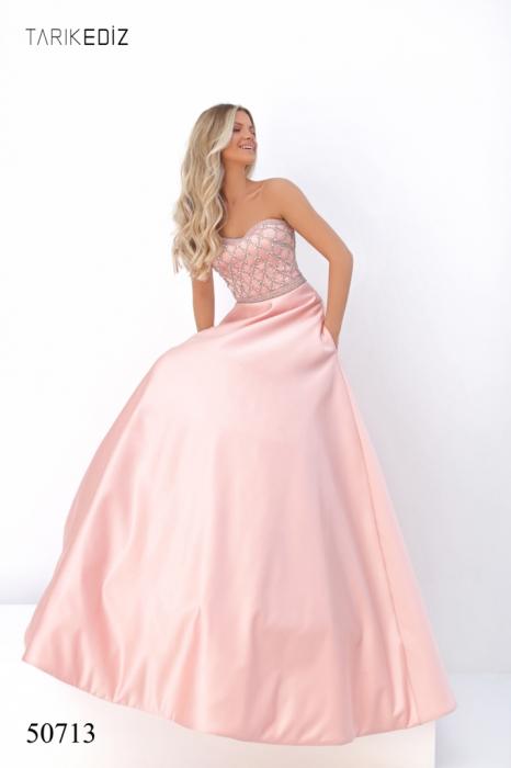 Rochie Tarik Ediz 50713 roz lunga de seara princess din satin [1]