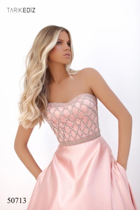Rochie Tarik Ediz 50713 roz lunga de seara princess din satin [2]
