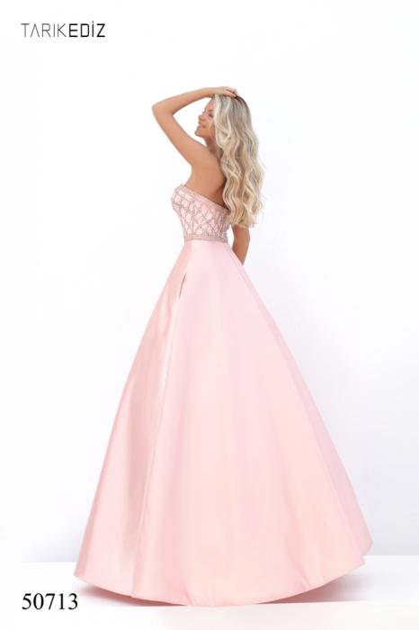 Rochie Tarik Ediz 50713 roz lunga de seara princess din satin [4]