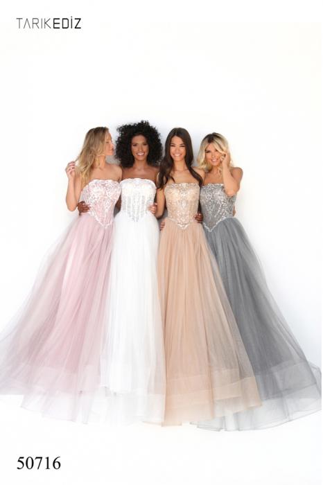 Rochie Tarik Ediz 50716 roz/argintie lunga de seara princess din tulle 0