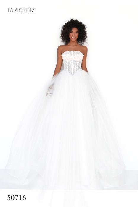 Rochie Tarik Ediz 50716 crem lunga de seara princess din tulle 0