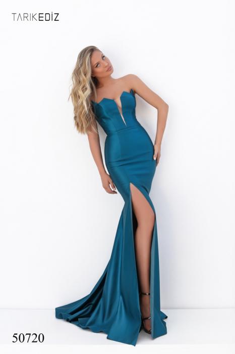Rochie Tarik Ediz 50720 albastra lunga de seara sirena din satin [0]