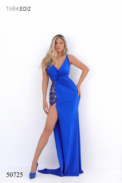 Rochie Tarik Ediz 50725 albastra lunga de seara mulata din jerse 1