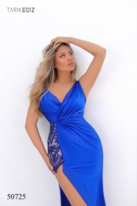 Rochie Tarik Ediz 50725 albastra lunga de seara mulata din jerse 2